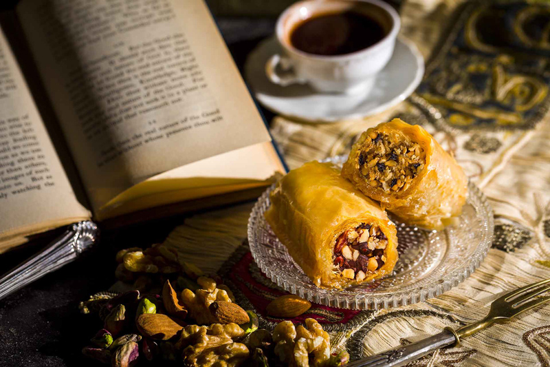 Baklavas, book and coffee